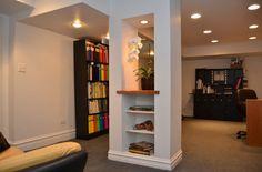 creative ways to incorporate support columns in design – Basement Bedrooms Basement Renovations, Home Renovation, Home Remodeling, Basement Ideas, Basement Designs, Basement Decorating, Modern Basement, Basement Plans, Rustic Basement
