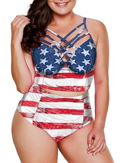 Dearlove Womens Plus Size Swimwear Strappy Push Up Underwire Bikini Top High Waisted Swimsuit Printed 2 Piece Bathing Suit,USA American Flag Plus Size Bikini Bottoms, Women's Plus Size Swimwear, Curvy Swimwear, Trendy Swimwear, Plus Size Bademode, Trends, Two Piece Swimsuits, Bikinis, Plus Size Fashion