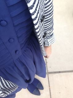 Apologies in advance that navy is clearly my color of the season. This Parisian striped jacket is a perfect topper to a navy dress from ASOS. The navy tights and flats make the look effortlessly mo...  Twentysomethingstyleselfie.wordpress.com