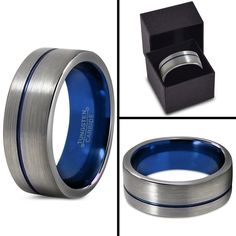Tungsten Wedding Band Ring 8mm for Men Women Blue Silver Flat Pipe Cut Brushed…
