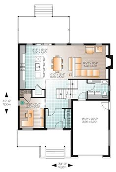 Modern House Plan with 3 Bedrooms and Baths - Plan 4765 Contemporary Style Homes, Contemporary House Plans, Modern House Plans, Modern House Design, Two Story House Plans, Small House Plans, House Floor Plans, Open Floor Concept, Drummond House Plans