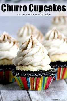 This delicious Churro Cupcake Recipe is a sweet, cinnamon cake kissed with cinnamon and sugar then topped with a homemade cinnamon butter cream! Delicious!