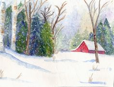 CHRISTMAS BARN  A large Christmas card from my Original Watercolor Painting. $5.00, via Etsy.