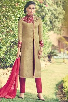 #Beige pure raw #silk beauteous #kameez with #poloneck -SL5463