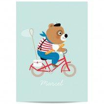 Poster Op de fiets mint Fiep Westendorp 42 x 59.4 cm   PSikhouvanjou