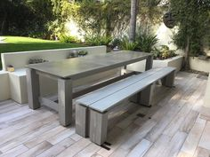 Concrete top outdoor dining table | Etsy Concrete Outdoor Table, Outdoor Fire Table, Outdoor Dining, Outdoor Decor, Outdoor Ideas, Outdoor Spaces, Swing Table, Picnic Table Plans, Brazilian Hardwood