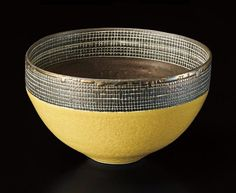 LUCIE RIE Bowl, circa 1976 Porcelain, pitted yellow and golden manganese glazes. A deep band of sgraffito grid repeated inside and out.) diameter Impressed with artist's seal. Pottery Bowls, Ceramic Pottery, Pottery Art, Slab Pottery, Ceramic Tableware, Ceramic Bowls, Slab Ceramics, Pottery Sculpture, Ceramic Sculptures
