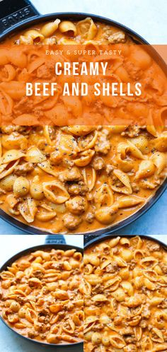 CREAMY BEEF AND SHELLS Quick / easy ground beef recipe, this is a pasta dish that will be on your dining table all week! Very creamy and so comforting! This is clearly a straight-out-of-the-skillet type dinner. Just grab your fork and dig right in. Easy Dinner Recipes, Gourmet Recipes, Crockpot Recipes, Delicious Recipes, Cooking Recipes, Yummy Food, Healthy Recipes, Healthy Food, Beef Dishes