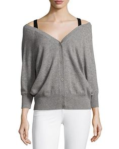 THEORY Saline B Cashmere Cold-Shoulder Cardigan, Gray. #theory #cloth #