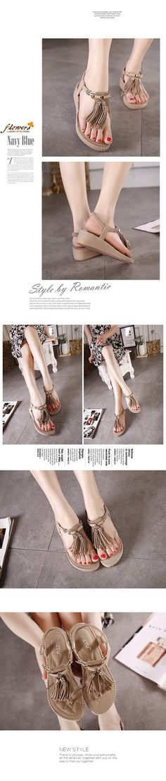 $18.16- Retro Gladiator Flip Flop Wedage Sandal with Tassels #sandal #wedgesandal