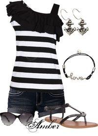 Cute Black & White Stripe Denim Shorts Outfit