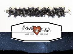 Starry Night Seed Bead Bracelet black bead bracelet by RebelSoulEK
