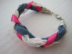 One Of a Kind Handmade Accessories!   Braided Lace and Ribbon Bracelet. $10.50, via Etsy. by hester