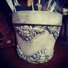 Chalk paint and IOD moulds Dressed up a garden pot to use for my brushes and stuff Reuse Bottles, Bottles And Jars, Creative Arts And Crafts, Crafts To Do, Orchard Design, Iron Orchid Designs, Decoupage Vintage, Idee Diy, Altered Bottles
