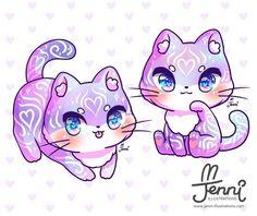 Anime Chibi, Kawaii Anime, Kawaii Chibi, Kawaii Cat, Cute Chibi, Cute Kawaii Animals, Cute Animal Drawings Kawaii, Cute Drawings, Wallpaper Kawaii