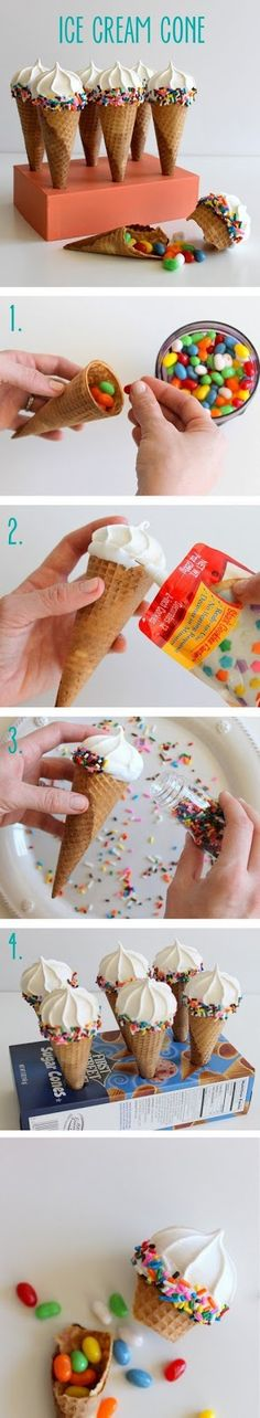 DIY Pinata Ice Cream Cone - I think maybe layered with sweets, mini meringue, chocolate mousse, then ice the mini meringue on top with icing and sprinkles - what a fab party treat! Ice Cream Party, Diy Ice Cream, Ice Cream Cones, Cupcake Cakes, Cupcakes, Festa Party, Partys, Party Treats, Cute Food