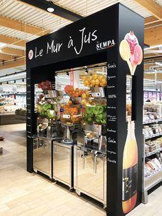 Trendy Fruit Juice Kiosk Design Ideas - Supermarkt for beginners juice Kiosk Design, Design Web, Retail Design, Store Design, Mini Mercado, Juice Bar Interior, Shop Name Ideas, Juice Bar Design, Fruit Shop