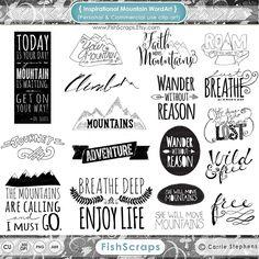 Mountain Word Art & Inspirational Quote Clip Art por FishScraps