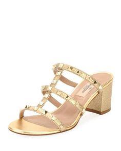 7aa28de2024 Rockstud Metallic Mule Sandal