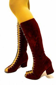 1960s deep red velvet boots