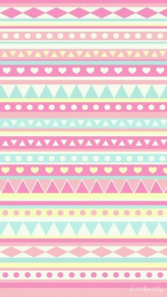 super cute girly blue pink yellow aztec prints wallpaper ♥♥