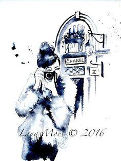 Parisian Chanel Fashion Watercolor Paris Illustration