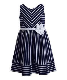Navy Stripe Dress - Girls #zulily #zulilyfinds