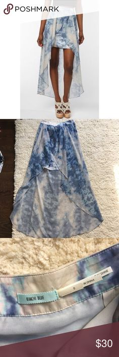 Kimichi Blue High Low Skirt Never been worn & in perfect condition. In a blue tie dye color. It is short in the front and long in the back. Kimchi Blue Skirts High Low
