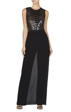 63085da49e52f $398 BCBG MaxAzria Black Snake Sequin Illusion Chiffon Skirt Jumpsuit NWT  B699 #BCBGMAXAZRIA #Jumpsuit