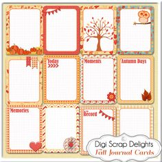 Fall Pocket Journal Cards Set2 3x4 Autumn by DigiScrapDelights
