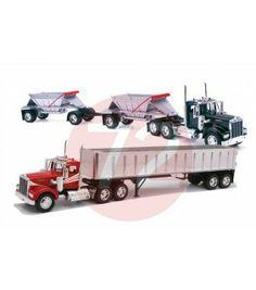 Diecast Truck Combo: Kenworth W900 Frameless Dump Truck and Kenworth W900 Double Belly Dump Truck.