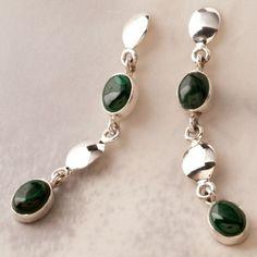 Brinco Prata Pedra Verde