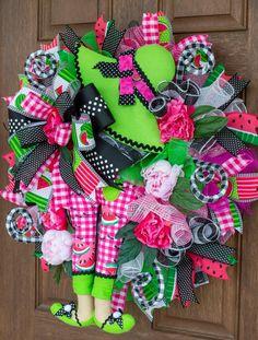 Watermelon Girl, Summer Deco, Spring Front Door Wreaths, Deco Mesh Wreaths, Summer Wreath, Wall Decor, Tropical Decor, Floral Wall, Floral Design