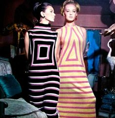 Models wearing Victor Vasarely inspired dresses, Jardin des Modes, December 1965. Photo by Guy Bourdin.