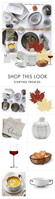 """We've been expecting you! Soups on!"" by mcheffer ❤ liked on Polyvore featuring interior, interiors, interior design, home, home decor, interior decorating, Restoration Hardware, Heritage Lace, Linea Carta and Sur La Table"