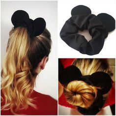 Mickey Mouse Scrunchie, Mouse Ears, Black Scrunchies, Disney Scrunchie - Penteados e fantasias - Mouse Ear Scrunchies for your next magical trip! You are in the right place about hair scrunchies di - Disney Diy, Disney Crafts, Disney Trips, Disneyland Outfits, Disney Inspired Outfits, Disney Outfits, Disney Style, Black Scrunchies, Hair Scrunchies