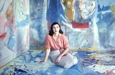 Helen Frankenthaler paintings, Color Field Painter, one of the first to pour paint on canvas.