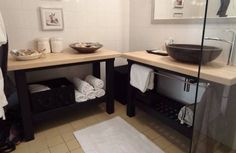 """Spa style bathroom for renters - IKEA Hackers. two GROLAND kitchen islands and painted the bottom part black. My dad installed a stone bowl sink on top of it and voila! Now my mom is out shopping for baskets to put on the bottom shelves"""" Ikea Bathroom, Bathroom Hacks, Bathroom Spa, Ikea Kitchen, Bathroom Furniture, Kitchen Unit, Bathroom Closet, Bathroom Vanities, Master Bathroom"""