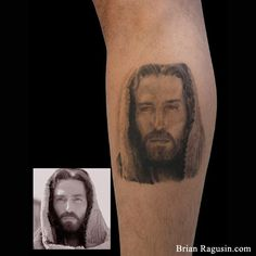 #Jesus #portrait #tattoo (taken directly from Passion of the Christ movie).  This was completed in one session during the Long Beach tattoo convention on the Queen Mary!