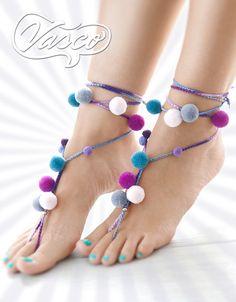Boho Pom Pom Barefoot Sandals. Tie Up Handmade Pom by VascoDesign