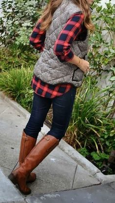 Get this fab look with our Chilly Nights Herringbone ‪#Vest‬ & Perfect ‪#Flannel‬ Tunic In Red ! ❤ www.psiloveyoumoreboutique.com
