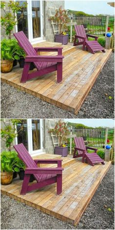 Look at the impressive designing of the pallet wood deck design and the adorable wood pallet chair project shown below. This latest pallet plan will amazingly beautify the boring looking area of the house by decorating it beyond imaginations. Wooden Pallet Furniture, Diy Outdoor Furniture, Wooden Pallets, Wooden Diy, Pallet Wood, Pallet Chairs, Deck From Pallets, Garden Furniture, Furniture Ideas