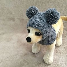 Pet Clothes Apparel Handmade Knit Outfit Pom Pom Hoody Snow- Hat for Small Dog