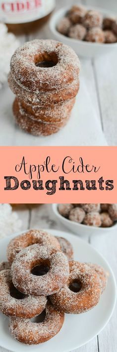 Apple Cider Doughnuts - yummy cake doughnuts made with apple cider and covered in cinnamon sugar!: