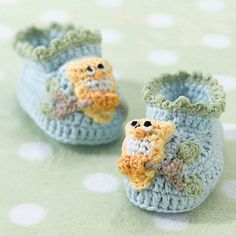 Pair of Blue Owl Crocheted Cotton Booties