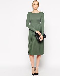 12f5033280396 ASOS Maternity Midi Skater Dress With Wrap Back With Long Sleeve at asos.com