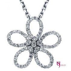 0.30 TCW Flower Petal Design Round Cut Diamond Encrusted Pendant 14k White Gold