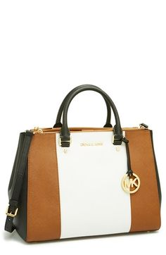 MICHAEL Michael Kors 'Large Sutton Center Stripe' Saffiano Leather Tote | Nordstrom