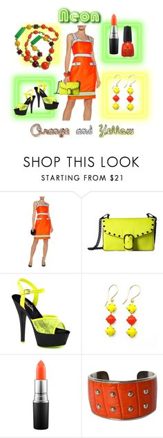 """""""Bright Colors - Neon orange and Yellow"""" by susan-993 ❤ liked on Polyvore featuring Moschino, Rebecca Minkoff, Pleaser, Zara Taylor, MAC Cosmetics and Tod's"""