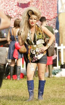 Photo Gallery: Glastonbury - the backstage celebrities  			Drag queen Jodie Harsh, who DJ'd in the Dance Village on Sunday night. Photo: PA Photos